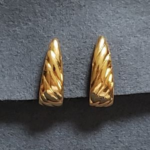Monet Wrap Around Gold Toned Clip On Earrings